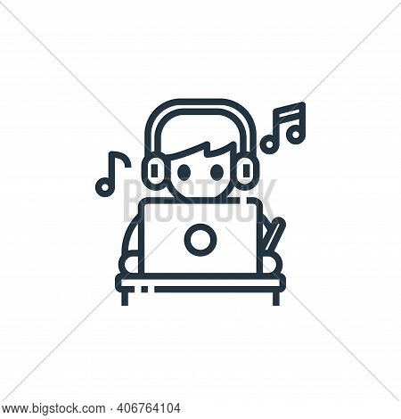 music icon isolated on white background from working from home collection. music icon thin line outl