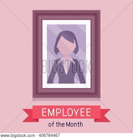 Employee Of Month, Female Photo Wall Frame Template. Profile Portrait With Empty Face Zone, Eom Rewa