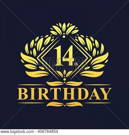 14 Years Birthday Logo, Luxury Golden 14th Birthday Celebration.