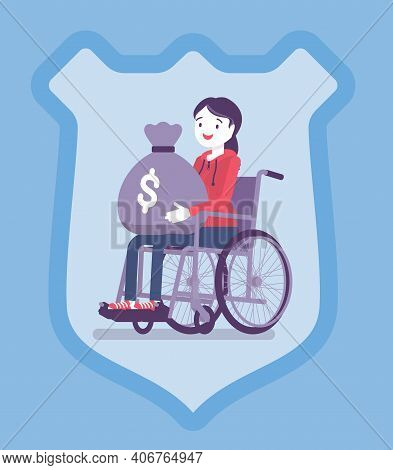 Disability Insurance Benefit Payments For Disabled Wheelchair Woman. Person Holding Dollar Money Sac