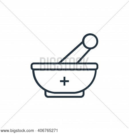 mortar icon isolated on white background from medical tools collection. mortar icon thin line outlin