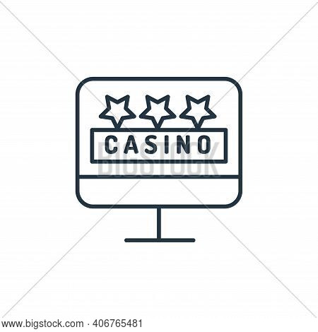 monitor icon isolated on white background from casino collection. monitor icon thin line outline lin