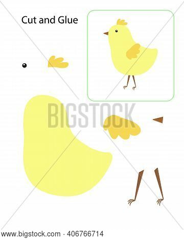 Cut And Glue Educational Activity For Children, Diy Easter Chicken Papercraft, Simple Cartoon Farm A