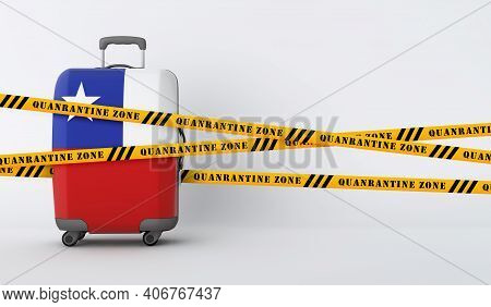 Chile Travel Suitcase Covered With Quarantine Tape. 3d Render