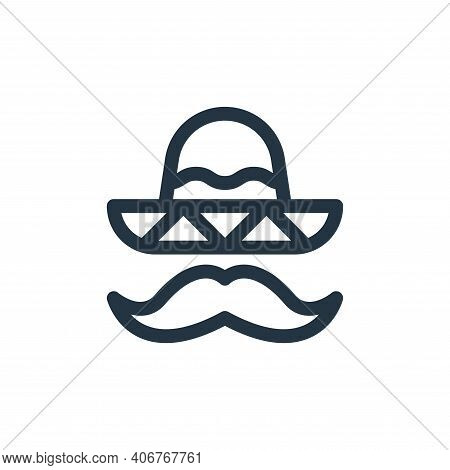 mexican hat icon isolated on white background from mexico collection. mexican hat icon thin line out