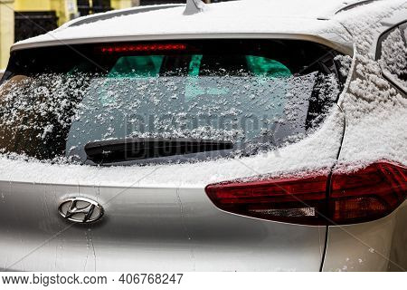 Rear Car Window Covered With Snow. Snow On Car Back Wiper In Bucharest, Romania, 2021