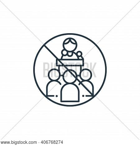 meetings icon isolated on white background from coronavirus collection. meetings icon thin line outl