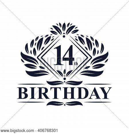 14 Years Birthday Logo, Luxury 14th Birthday Celebration.