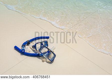 Snorkeling Equipment On Sand. Summer Vacation Holiday Template, Recreational Summer Activity. Idylli