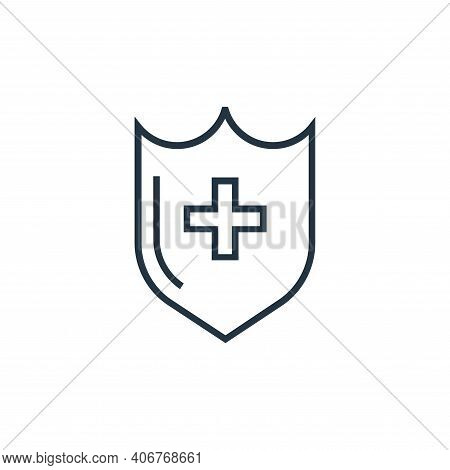 medical shield icon isolated on white background from medical tools collection. medical shield icon