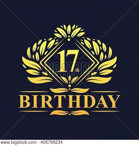17 Years Birthday Logo, Luxury Golden 17th Birthday Celebration.