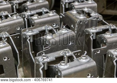 Many Equal Welded Aluminium Assemblies In Factory Between Operations