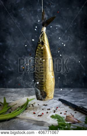 Smoked Mackerel Of Cold Smoked. Smoked Fish In Smokehouse Box. Close Up Smoking Process Fish For Hom