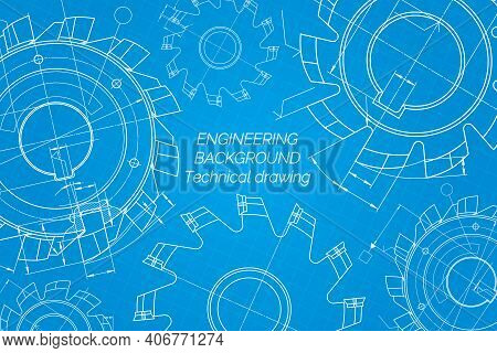 Mechanical Engineering Drawings On Blue Background. Cutting Tools, Milling Cutter. Technical Design.