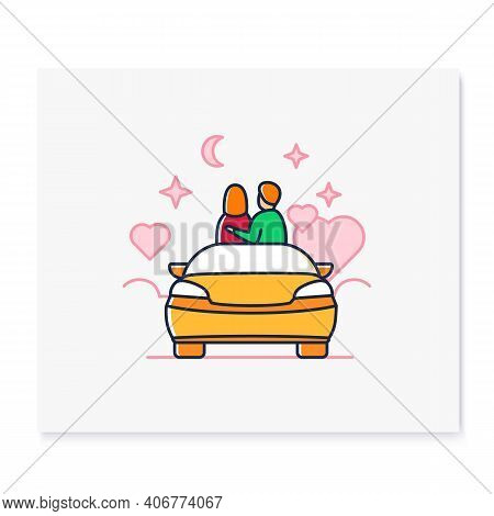 Car Date Night Color Icon. Romantic Pastime Concept. Comfortable Car Helps Relax Together Under Star