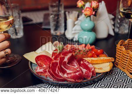Breakfast Plate With Traditional Spanish Food, Jamon, Fried Egg, Potato Tortilla And Salami Chorizo