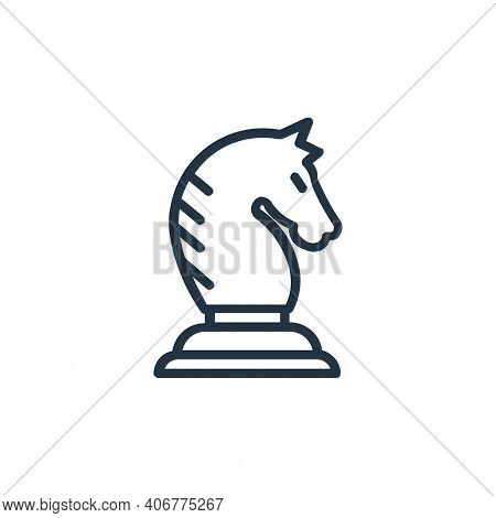 knight icon isolated on white background from chess game collection. knight icon thin line outline l