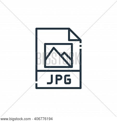 jpg file icon isolated on white background from file type collection. jpg file icon thin line outlin