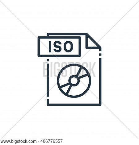 iso file icon isolated on white background from file type collection. iso file icon thin line outlin