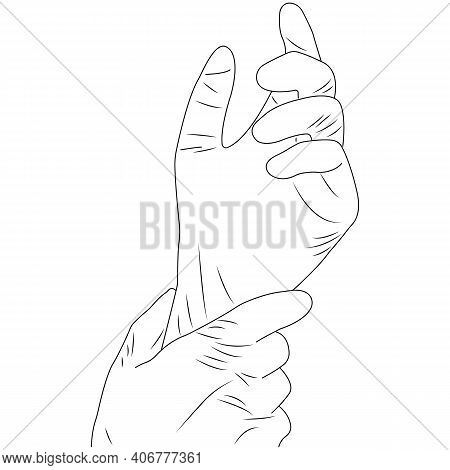 Outline Hand Gesture Preparation For Surgery, Hands In Rubber Sterile Gloves. Silhouette Black Linea