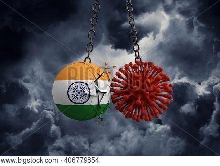 Virus Microbe Smashing Into India Flag Ball. 3d Render