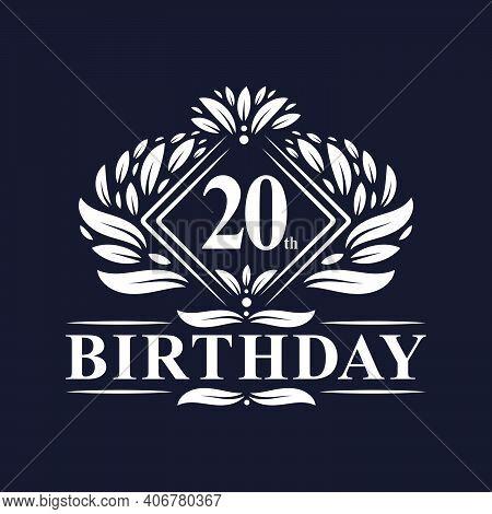 20 Years Birthday Logo, Luxury 20th Birthday Celebration.