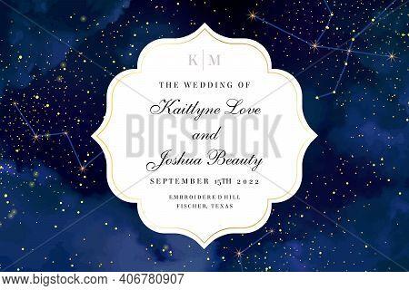 Magic Night Dark Blue Sky With Sparkling Stars Vector Wedding Invite Card. Andromeda Galaxy.gold Gli