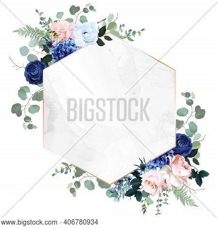 Royal Blue, Navy Garden Rose, Blush Pink Hydrangea Flowers, Anemone, Thistle, Eucalyptus, Vector Des