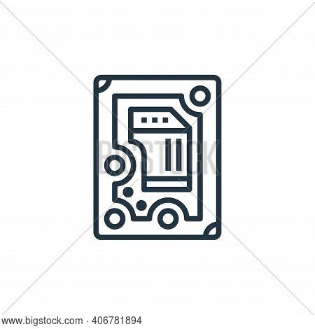 hard disk icon isolated on white background from stationery collection. hard disk icon thin line out