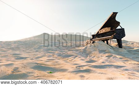 Abandoned And Damaged Piano On The Beach With Sand Covering It. 3d Illustration