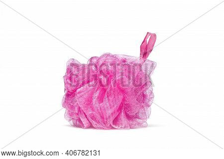 Horizontal Shot Of A Pink Bath Scrunchie Or Loofah With Shadow On A White Background.