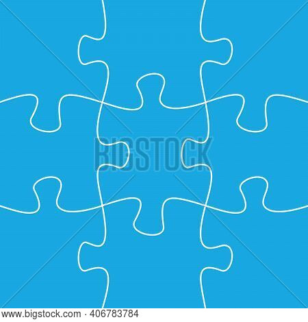 9 Jigsaw Pieces Template. Puzzle Pieces Connected Together.