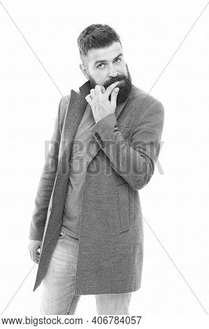 Menswear And Fashion Concept. Bearded And Handsome. Bearded Hipster Stylish Fashionable Jacket. Man
