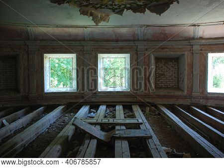 Abandoned Burned Out Mansion Building. View From Inside, Interior. Can Be Used As Demolition, Bomb,