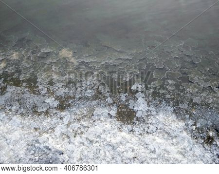 Lake Shore For Salt Extraction. Salt Lake. Natural Salt. Background For Your Inspiration, Salt Produ