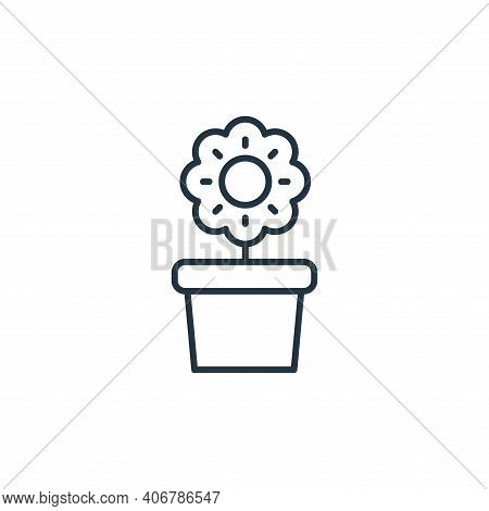 flower pot icon isolated on white background from interiors collection. flower pot icon thin line ou
