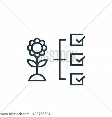 flower icon isolated on white background from smart farm collection. flower icon thin line outline l