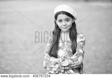 Feel Stylish. Little Child With Stylish French Look. Stylish Girl Keep Arms Crossed Grey Background.