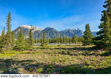 Beautiful Landscape With Mountains And Rivers In The Jasper National Park Canada. Travel In The Natu