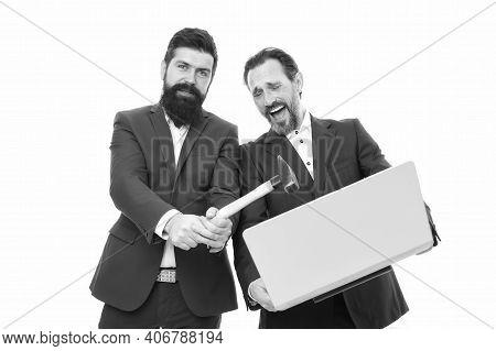 Password Hack. Businessmen Break Or Hack Computer. Hackers Hold Laptop And Hammer. Computer Hacking.