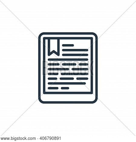 ebook icon isolated on white background from education collection. ebook icon thin line outline line