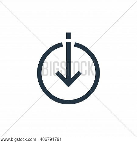 downloading icon isolated on white background from arrows collection. downloading icon thin line out
