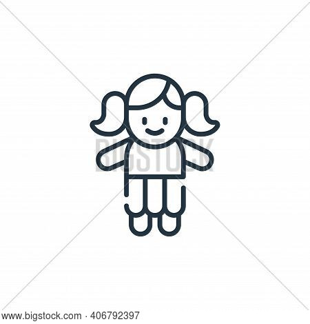 doll icon isolated on white background from children toys collection. doll icon thin line outline li