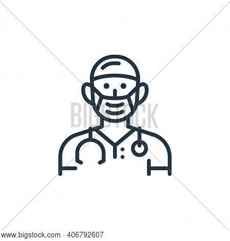 doctor icon isolated on white background from virus transmission collection. doctor icon thin line o