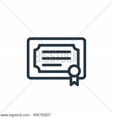 diploma icon isolated on white background from online learning collection. diploma icon thin line ou
