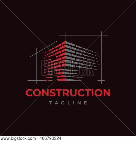 Home Build Symbol Logo Design Vector Template. Brick Work With Letter R Illustration