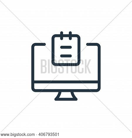 desktop computer icon isolated on white background from work office supply collection. desktop compu