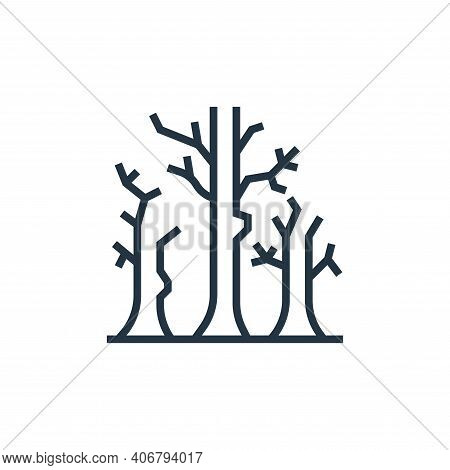 dead tree icon isolated on white background from climate change collection. dead tree icon thin line