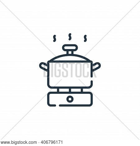 cooking pot icon isolated on white background from free time collection. cooking pot icon thin line