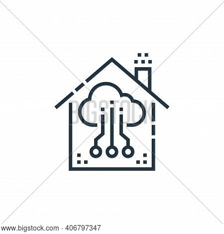 cloud icon isolated on white background from smarthome collection. cloud icon thin line outline line